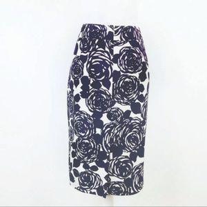 Boden Purple Abstract Rose Print Silk Skirt 10L